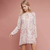 ANTHROPOLOGIE Women's Sz M Paisley Boho Muted Pink Peasant Tunic Top