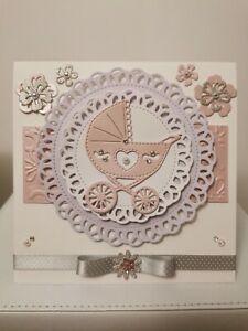 Handmade Baby Newborn baby Shower Baby Girl  Pink Luxury Card happy birthday
