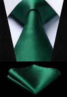 """3.4"""" Silk Fashion Woven Mens Green Tie Striped Necktie Handkerchief Set#TS704G8S"""