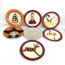 "Pottery Barn Kids Melamine Plate LOT of 7 Christmas Holiday Halloween 9"" Dish"