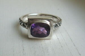 Sara Blaine Signed Sterling Silver Amethyst Accent Sz 8.5 Ring