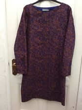 COS Blue Brown Print Panelled Boat Neck Long Sleeve Shift Dress 36/10