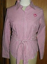 Vera Wang Princess Pink White Shirt Striped Long Sleeve Tied Front Size 11 NEW