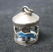 VINTAGE STERLING SILVER MOVEABLE ENAMELED CAROUSEL CHARM