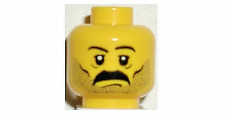 Lego Head Moustache and Stubble Pattern, White Pupils, Eyebrows