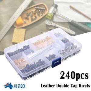 240 Set Leather Double Cap Rivets Tubular Metal Studs Fixing Tool Kit Craft AUS