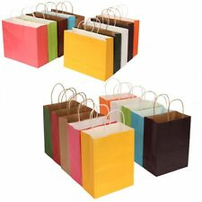 S M L XL 4 Size x 10 Color Kraft Paper Bags + Handle Birthday Xmas Souvenir Gift