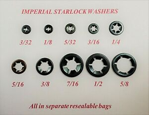 Imperial Starlock washers push lock on grab fastener clips 3/32-5/8