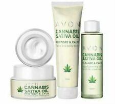 Avon Cannabis Sativa Oil Skincare Collection. Cleanser, face cream, hand cream.