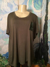 Ellen Tracey Plus 3X  New Solid Green Rayon Sequin Pocket Short Sleeve Tunic Top