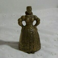 """Vintage Brass Lady Bell, Victorian servant's bell 3.5"""" bell with feet clappers"""