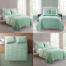 Beach Quilt Comforter Set King Mint Green Bed Bedding Cover Ocean Seashells GIFT