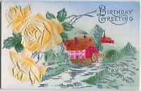 Birthday ~YELLOW ROSES~PINK COTTAGE~SILVER Embossed, Airbrushed ANTIQUE POSTCARD
