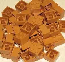 LEGO  50 NEW 2 X 2 MEDIUM DARK FLESH BRICKS BUILDING BLOCKS TOWN CITY PARTS