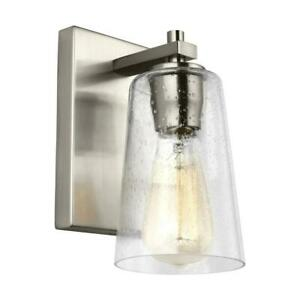 5-in Single-Bulb Sconce Wall Mount Incandescent LED Colored Glass in Nickel