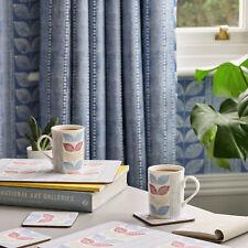 Price Per Metre Laura Ashley Woodblock Leaves Denim Blue Curtain Fabric Material