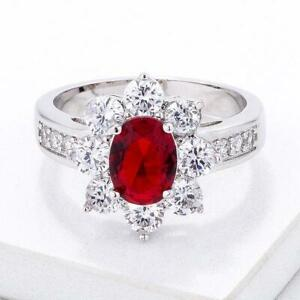 8x6 mm Oval Cut Red Ruby July Birthstone CZ Lady Floral Cocktail Ring Size 5-10