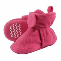Hudson Baby Unisex Baby Cozy Fleece Booties with Non Skid, Dark Pink, Size 0.0 C