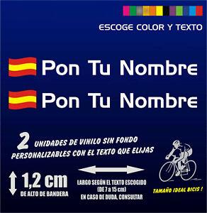 2 Pegatinas personalizables BANDERA DE ESPAÑA ONDEADA con nombre Bici Sticker