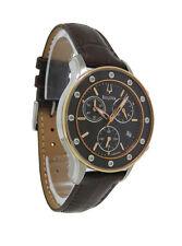 Bulova Diamond 98R160 Women's Analog Brown Round Chronograph Date Leather Watch