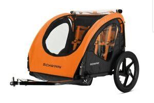 Schwinn Shuttle foldable bike trailer, 2 passengers, orange / black