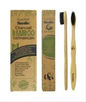 Pack de 4 brosses à dents en bambou bio, poils souples infusés au charbon actif
