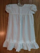 Vintage Christening Baptism Baby Gown Dress White Cotton Lace Embroidered