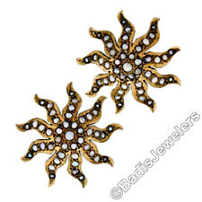 Antique Victorian 14K Yellow Gold Seed Pearl Large Domed Starburst Stud Earrings