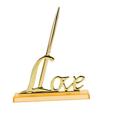 NUOLUX Wedding Signing Pen with Gold Plated Metal Love Holder Party Pen Set (Gol