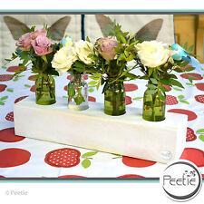 PEETIE Vintage 4er Blumenvase weiß Shabby Massivholz schlicht Glasvase Holz