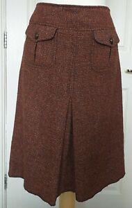 Ladies Wool Blend Burnt Orange Lined Skirt UK 10