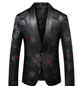 Mens New Printing Floral One Button V-Neck Slim Fit Korean Style Blazer Wedding