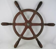 "Antique Salvaged  bronze 20.5"" Ship wheel mahogany handles"