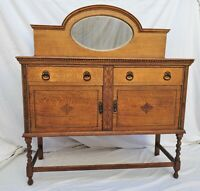 Vintage Barley Twist English Tiger Oak Sideboard / Buffet Console with Mirror