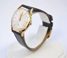 W520- GRUEN Precision Mens 14K Yellow Gold Dial Black Leather Band Watch