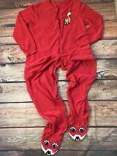 Nick & Nora Soft Fleece Footie Pajama One Piece Red Fox Chest Patch Sz M Women's