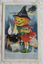 """Vintage Halloween Postcard , Whitney, """"Beware of a witch a black hoodoo..."""" 1922"""