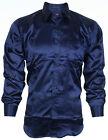 DESIGNER Men BUTTON DOWN Shirt SATIN Silk NAVY Dress Suit Work Express M-XXL $68