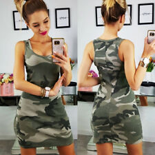 UK Womens Sleeveless Long Tops Camouflage Bodycon Party Mini Vest Dress Clubwear