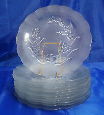 """12 KIG Indonesia Clear/Frosted Glass Embossed Flowers & Leaves 10"""" Dinner Plates"""