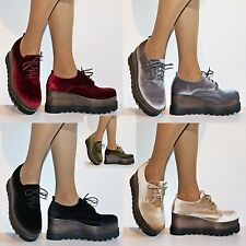 Womens Velvet Punk Goth Lace Up Flats Creepers Platform Boots Shoes Size.7681