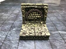 NEW Dwarven Forge Painted Resin 2 X 2 Catacombs Straight Wall Skull Fireplace