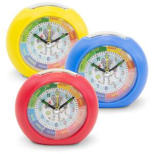 Kinder Lern Wecker Lichttaste große Ziffern Alarm rot blau gelb Junge Mädchen