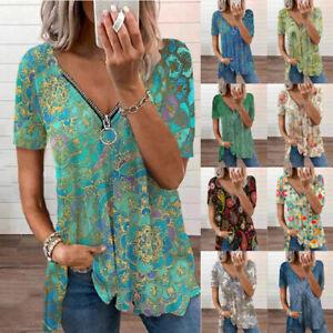 Women Summer V Neck Zip T Shirt Loose Floral Tops Short Sleeve Plus Tunic Blouse