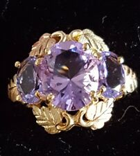 TRI-COLOR Black Hills 10k GOLD Twilight Color-change HELENITE Ring Size 6 1/2