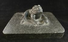 Rare Chinese Tang Dynasty Carved Black Stone Crouching Lion. 8th / 9th cent. c.