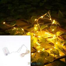 20LED 2M Warm White String Fairy Lights Christmas Wedding Decor Battery Operated