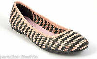 Womens Ladies Pink Black Woven Leather Pumps Shoes Ballerina Loafers Toe Heels