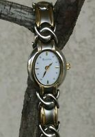 "Bulova Stainless Steel Two Tone Fancy Link Bracelet Watch 7"" Wrist New Battery"