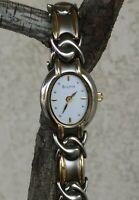 """Bulova Stainless Steel Two Tone Fancy Link Bracelet Watch 7"""" Wrist New Battery"""